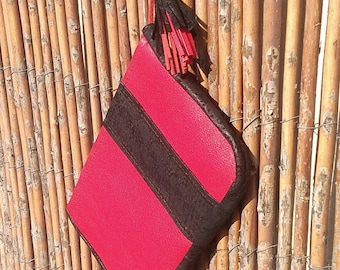 Hermes red leather clutch and black