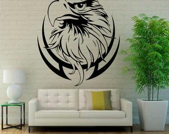 Eagle Wall Decal Bird of Prey Vinyl Stickers Hawk Murals Modern Interior Decor (085egl)