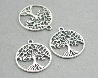 8 Tree Charms, Tree of Life pendant beads, Antique Silver 25mm CM0739S