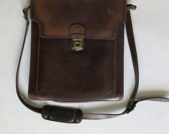 vintage genuine leather brown bag made in Greece
