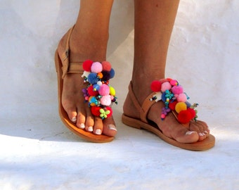 Alkioni, Leather sandals,  Pom Pom sandals, Handmade leather sandals, T-strap sandals, boho sandals, Greek Sandals