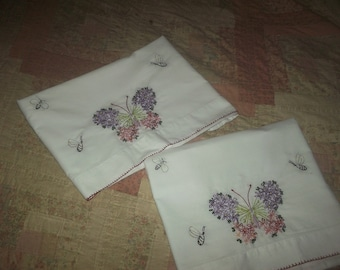 Embroidered Pillowcase, Butterfly Pillowcase, Pillowcase With Bees, Pillowcase With Flowers, Pillowcase Set, White Pillowcase