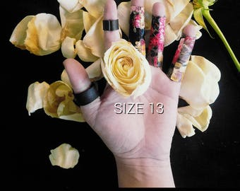 Midnight bloom print vegan leather ring long and regular lengths ring - size 13 - Rannka