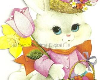 Vintage Easter Card, Digital Downloadable Printable Easter Clilpart, Childrens Easter Bunny Card, Instant Download, Happy Easter 1970s Card