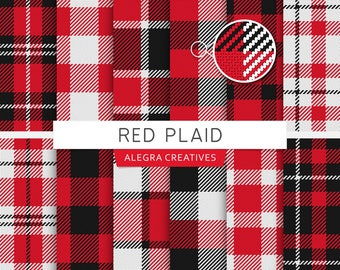 Red Plaid digital paper, tartan, buffalo, check, checkered, lumberjack, gingham, fabric, scrapbook papers (Instant Download)