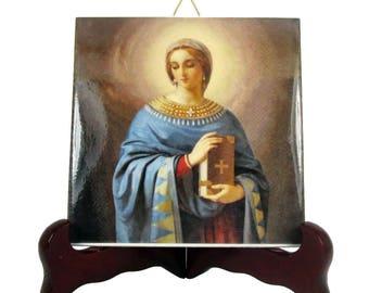 Saint Anastasia of Sirmium handmade religious gift ceramic tile Christian gift Catholic wall art confirmation gift