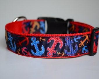 Anchors Dog Collar, Beach Dog Collar, Buckle Collar, Boy Dog Collar, Adjustable Collar, Red Dog Collar, Summer Dog Collar, Dog Collars, Dogs