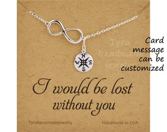 Sterling silver infinity Compass lariat Y necklace,Follow your dream compass,Graduation Gifts,friendship, best friend,bridesmaid gift, BFF