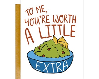 Funny Guacamole Card, Birthday Card, Girlfriend Card, Card for Her, Valentines Day Card, Card for Wife, Love Card, Girlfriend Gift, Birthday
