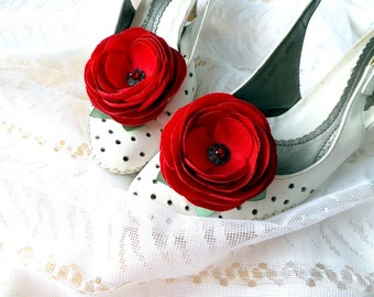 Red clips shoes,Wedding red shoe clips, Red wedding ,Wedding , Red rose flowers, Accessories wedding , Accessories women , Shoe Accessories