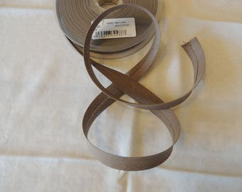 Fabric linen and cotton Brown width 2 cm