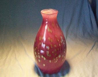 Interesting Tall Art Glass Purple Green Specks Vase Artist Signed