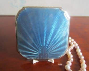 Art Deco Blue Guilloche Enamel Silver Compact 1936 Hallmarked