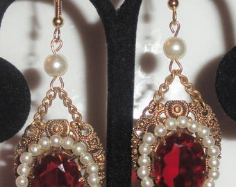 Vintage Unsigned W Germany Filigree Open Work RED Rhinestone Faux Pearl Repurposed Converted Pierced DANGLE EARRINGS