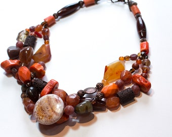 Multiple Strand Layered Brown Lava, Fire Agate, Coral, Carnelian, Agate, Red Jasper Necklace OOAK