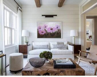 Boho house decor, Boho style bedroom wall art, Millennial pink painting Large Flowers horizontal artwork 36x24 Original canvas big painting