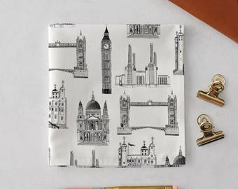London Buildings Handkerchief Pocket Square, Big Ben, London Print, Gift for Him, Gift for Her, Wedding Handkerchief, London Skyline