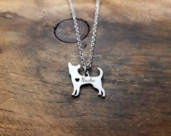 Personalized Chihuahua Necklace, Pet Name Pendant, Customized Pet Lover Necklace, Pet Remembrance Necklace, Gift for Dog Lover, Dog Pendant