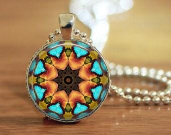 Mandala Pendant Turquoise and Orange Kaliedoscope Image Boho Necklace 1 Inch Gift for Her Gypsey