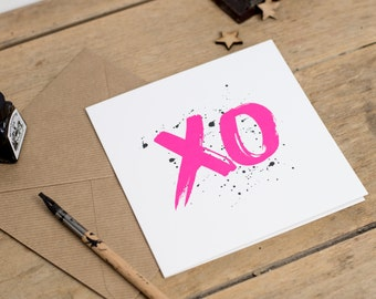 XO - Valentines Card Kiss Hug - Neon Pink Ink Greeting Card