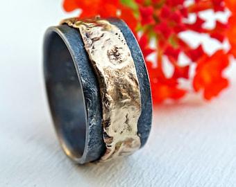 unique mens wedding band gold silver, mens ring gold wedding ring black, silver gold ring molten, viking wedding band, artisan gold ring