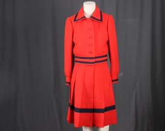 Red suit jacket pleated skirt stripes mad men set vintage women S small