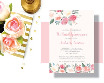 GIRLS FIRST COMMUNION Invitation Blush Pink Peach Watercolor Floral | Beautiful Shabby Chic First Communion Invitation for Girl | Baptism