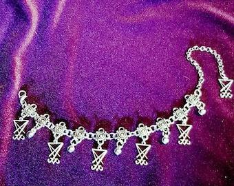 Luciferian Sigil of Lucifer Anklebracelet   Handbracelet - occult sigil of lucifer seal gothic goth