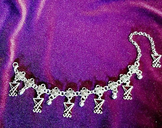 Luciferian Sigil of Lucifer Anklebracelet | Handbracelet - occult sigil of lucifer seal gothic goth