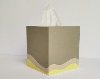Yellow and Brown decor, Tissue box, Brown and Yellow Tissue Box, Modern Kleenex Box, Yellow Decor, Tissue box cover