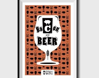 Beer Poster, Bacon, Art Print, Craft Beer - Bacon & Beer Art