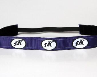 Gift for Runner, Navy 5k Headband, Running Accessory, Fitness Headband, Running Headband, Race Day Accessory, Noslip Band, Fitness Apparel