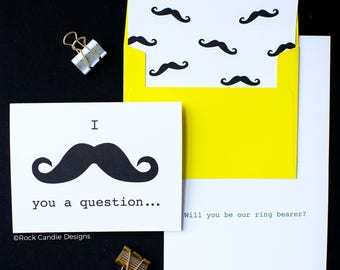 I Mustache You A Question Card | Will You Be Our Ring Bearer Stationery | Mustache Card | Card from Groom to Ask Groomsman or Best Man