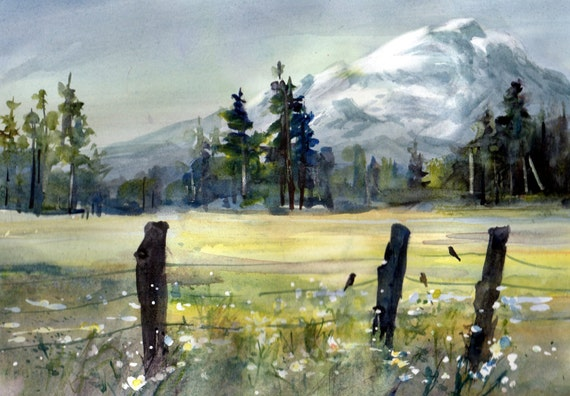 Mt. Adams 79 - a signed print by Columbia Gorge watercolor artist Bonnie White - mountain - landscape