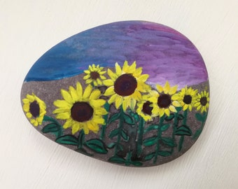 Painted Pebble - Colourful Sunflowers, Flowers Pebble, Hand Painted Pebble, Floral Painted Stone