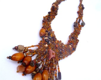 Beaded necklace, free form peyote stitch, bohemian style,  romantic jewelry, one of a kind, unique, brown, Forest in fall XVI