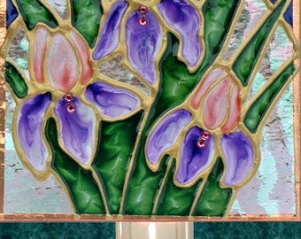 Pink Purple Iris Flower Night Light Plug In Decorative Night Lights Stain  Glass Night Light Floral