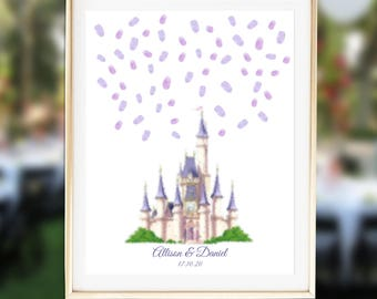 Wedding Guest Book Alternative, Castle Thumbprint Guestbook,  Cinderella Wedding, Fairytale Wedding Guest Book