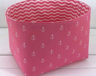 Storage Basket Anchor Baby Girl Nautical Nursery Decor Fabric Basket Toy Storage Baby Shower Gift Pink Anchors