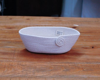 Oval Coiled Rope Basket - Small Basket - Cotton Anniversary Gift