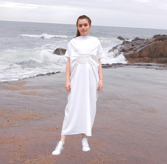 Maxi Cocoon Dress, Linen Kaftan, Abaya, Summer White Dress, Oversized Halter Dress, Long Plus Size Dress, Soft Linen Kaftan