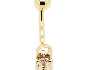 14K Yellow Gold Curved Barbell Skull Belly Ring – Sizes 14G-16G