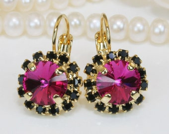 Fuchsia Black earrings Pink Black Drop Earrings Magenta earrings Fuchsia Swarovski Crystal Fuchsia Wedding,Gold, Fuchsia,GE96