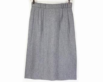 "7 Doller Sale---Vintage 80's KORET Petites Gray Wool Skirt 27"" Waist"
