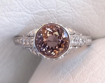 Pink Tourmaline with Diamonds Engraved Filigree Antique / Vintage Style Engagement  Ring 18k  White Gold