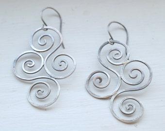 Long Sterling Silver Earrings - Diamond Shape - Spirals of Life Earrings