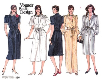 Dress Sewing Pattern Vogue 1156 Blouson Dress, Maxi Dress, Button Front Long Sleeve Dress Pattern Womens Size 8 10 12 UNCUT