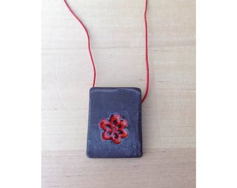 Black and Red enamel necklace