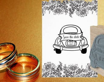 Save the Date Wedding Car Rubber Stamp