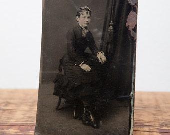 Vintage Tintype of woman sitting
